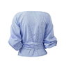 Blue Pinstripe Deep V Neck Tie Front Blouse