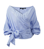 Blue Deep V Neck Tie Blouse