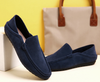 Casual Driving Suede Slip Loafer In Blue