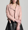 Zip Leather Biker Jacket In Pink