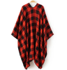 Red Plaid Poncho Scarf
