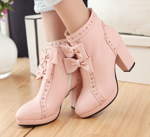 Zipper Bowknot White Boots