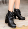 Zipper Bowknot Black Boots