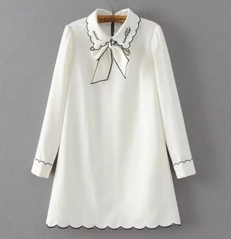 Embroidered Bowknot Blouse