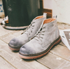 Gray Suede Lace-Up Boots