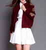 Vintage Flower Embroidered Jacket In Burgundy