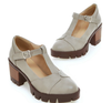 Vintage T-strap Shoes In Grey