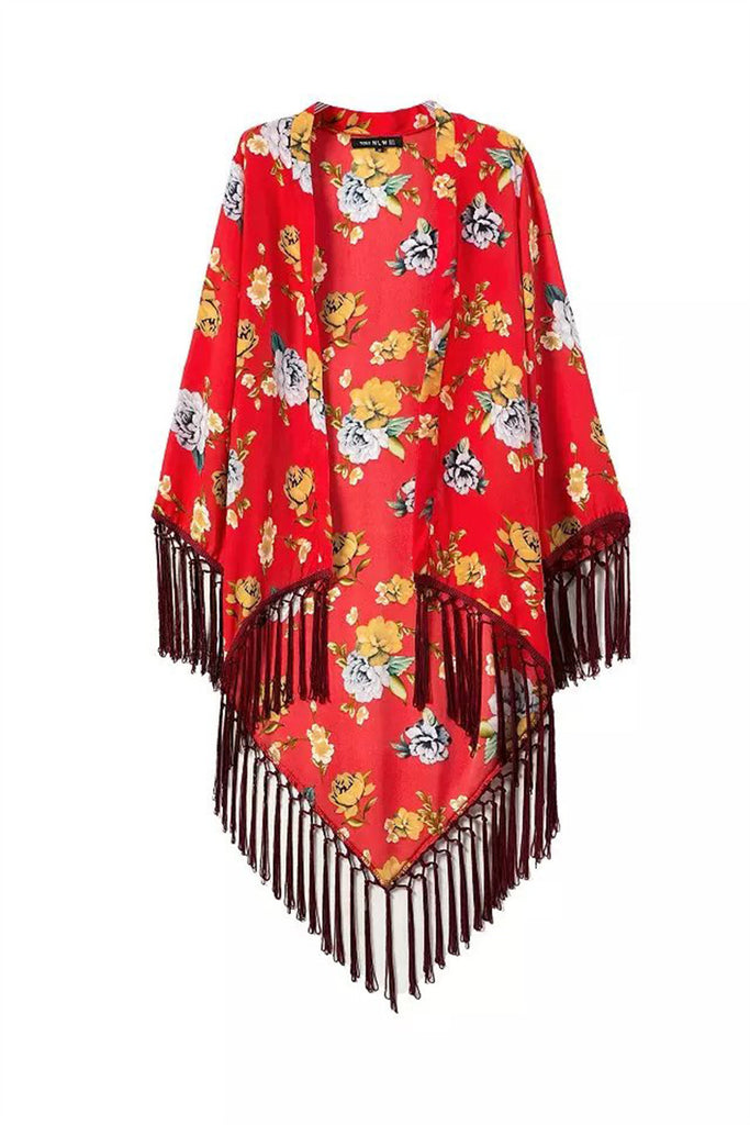 Red Floral Printed Fringed Kimono