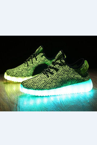 Fashion Neon Green Unisex LED Light Running Shoes