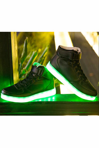 Fashion Black High Top Unisex Light LED Shoes