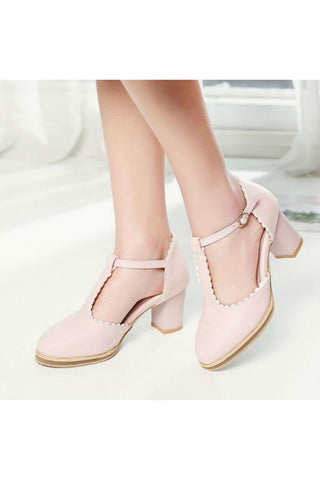 Pink T-strap Lacy Heels