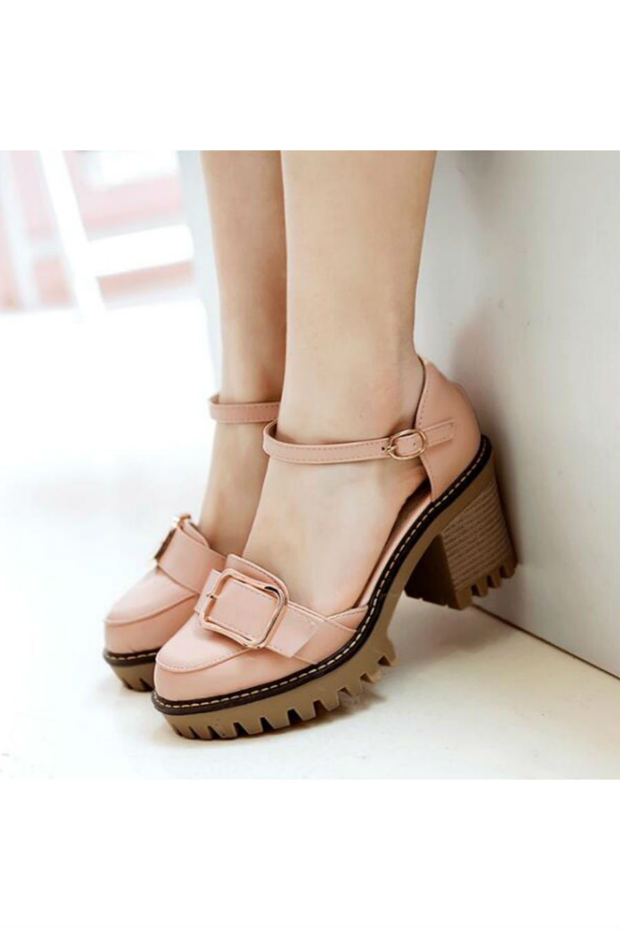 Pink Buckle Strap D'Orsay Heels