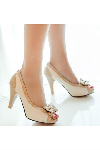 Bowknot Peep Toe Cream Pumps
