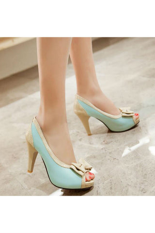 Bowknot Peep Toe Blue Pumps
