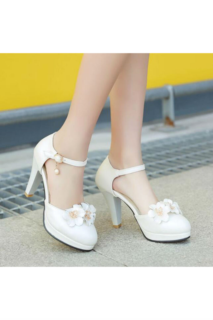 White Floral D'Orsay High Heels
