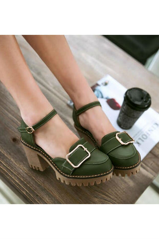 Green Buckle Strap D'Orsay Heels