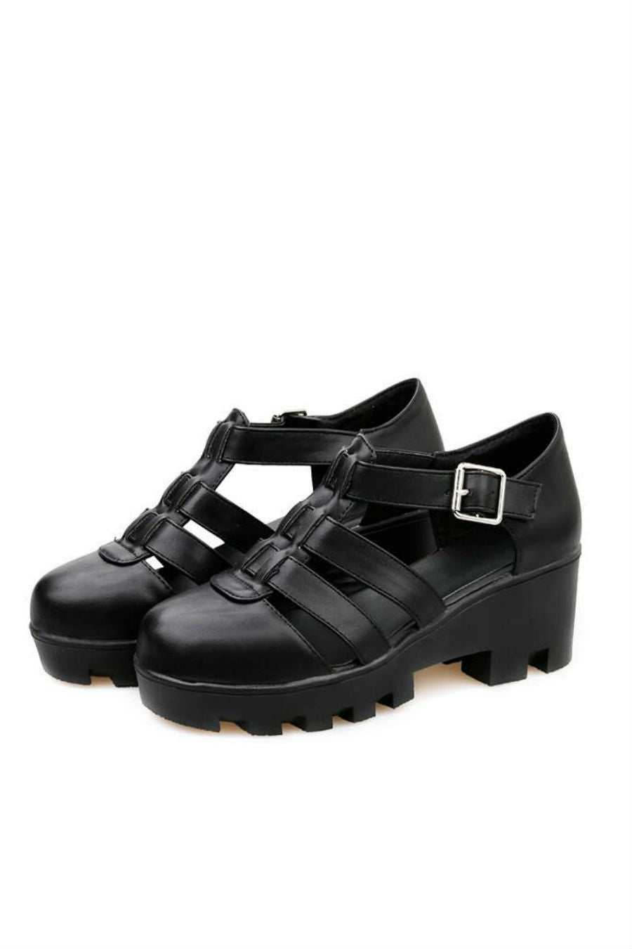 Black Hollow Out Strap Sandals