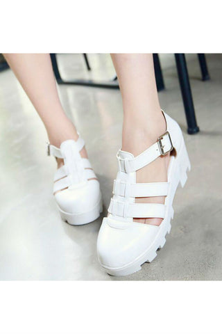 White Hollow Strap Sandals