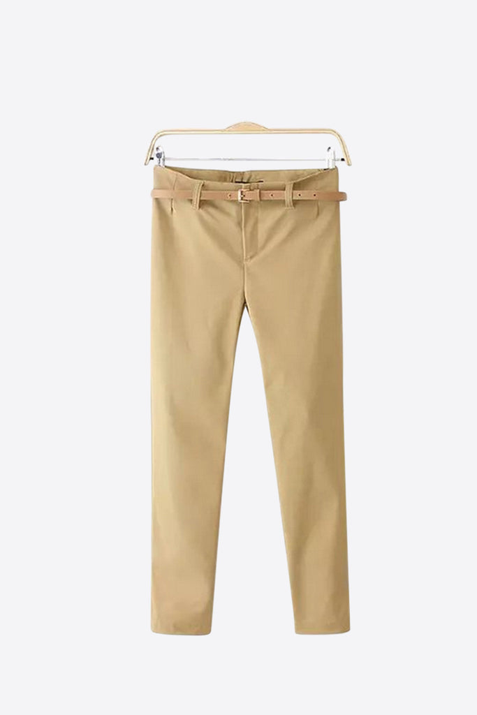Classic Slim Stretch Pants In Beige