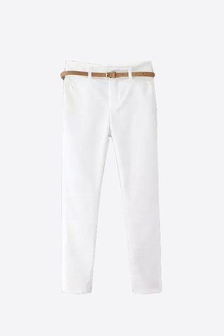 Classic Slim Stretch Pants In White