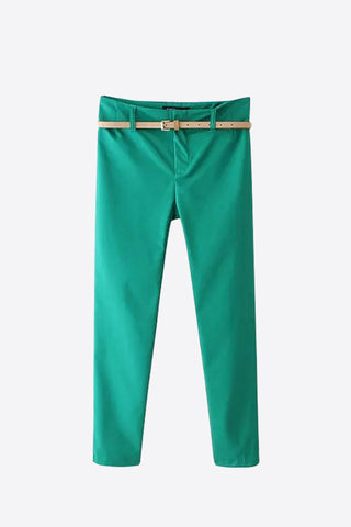 Classic Slim Stretch Pants In Green