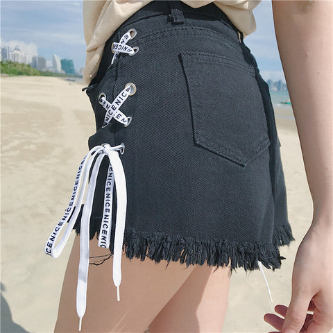 Side Lace Up Hot Shorts