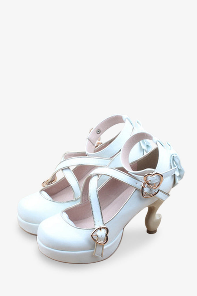 Retro Bows Criss-cross Platform Heels In White