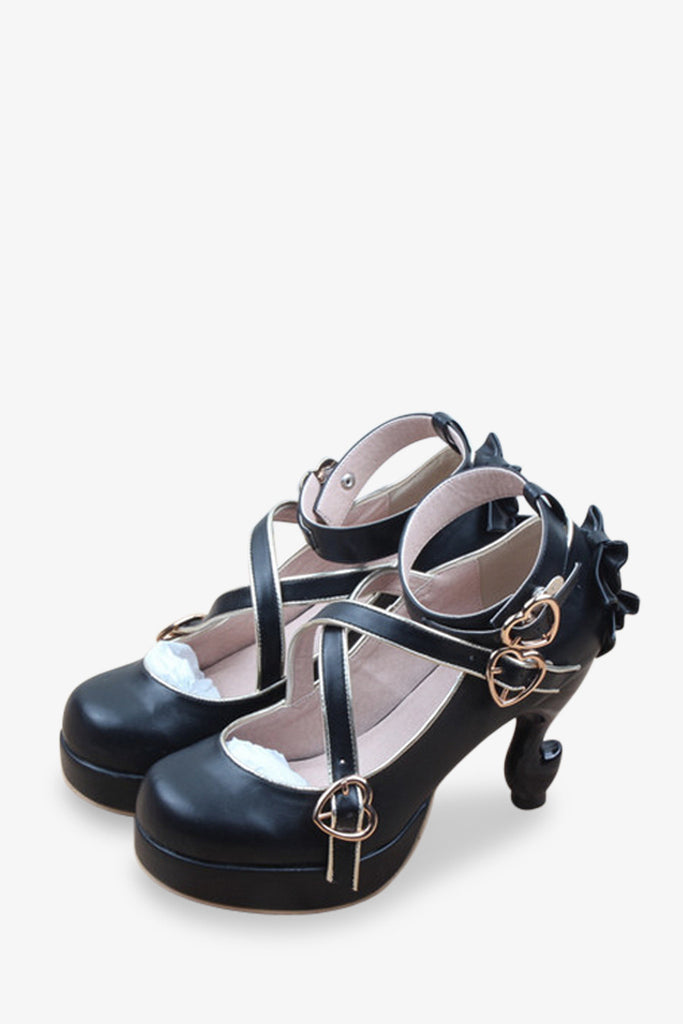 Lolita Criss-cross Black Heels