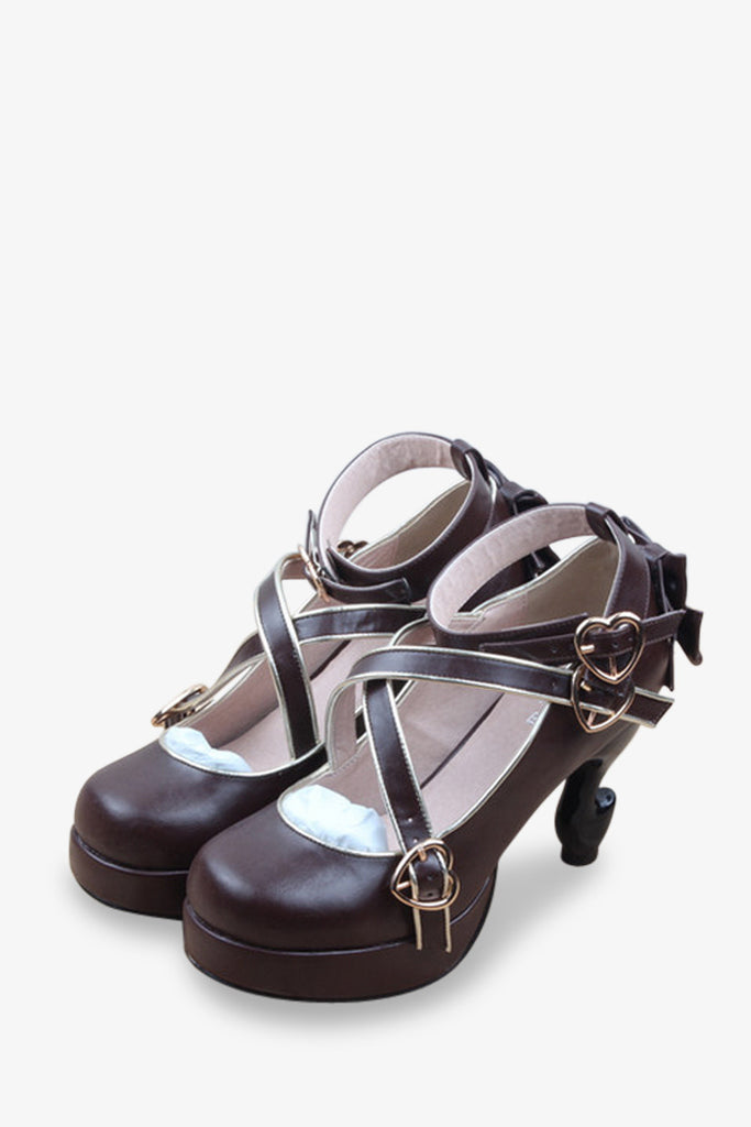 Retro Bows Criss-cross Platform Heels In Brown