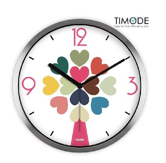 Fashion Art Wall Clock Love Hearts In Silver Satin