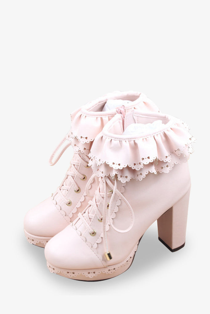 Frilled Platform Booties In Pink