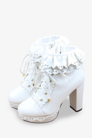 Frilled Platform Shoes In White