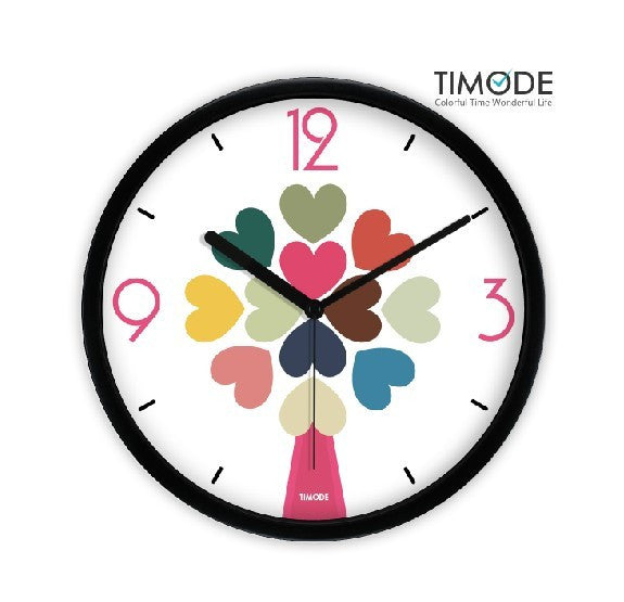 Fashion Art Wall Clock Love Hearts In Black