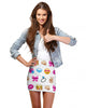 Cute Emoji Print Bodycon Skirt