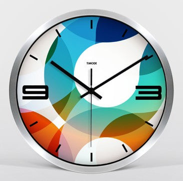 Colorful Flowers Clock Silver