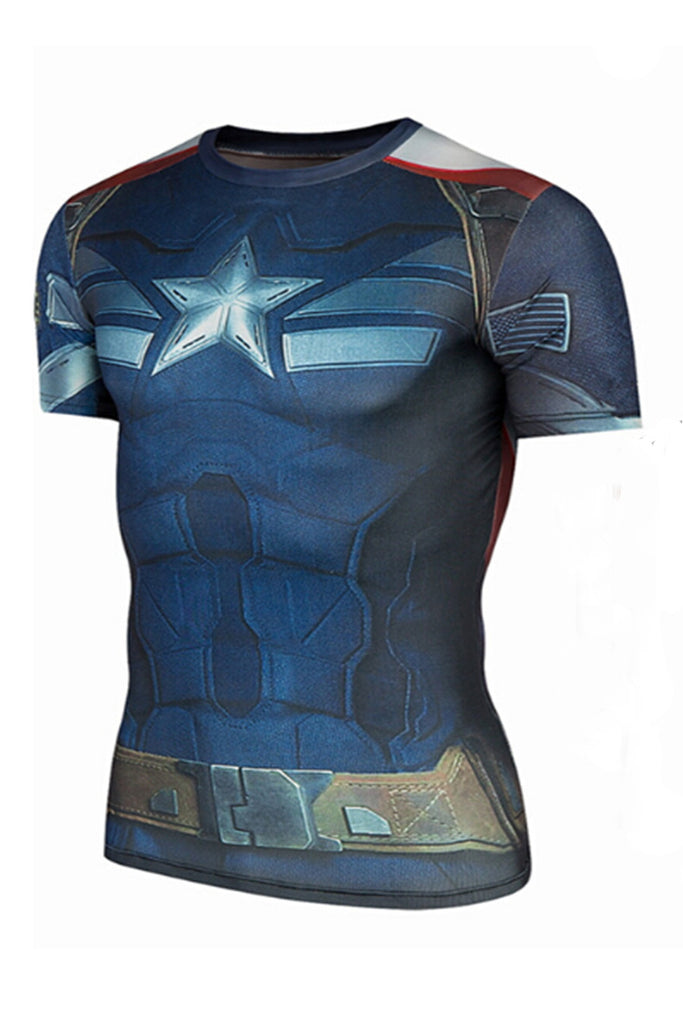 Crew Neck Captain America Pattern T-shirt