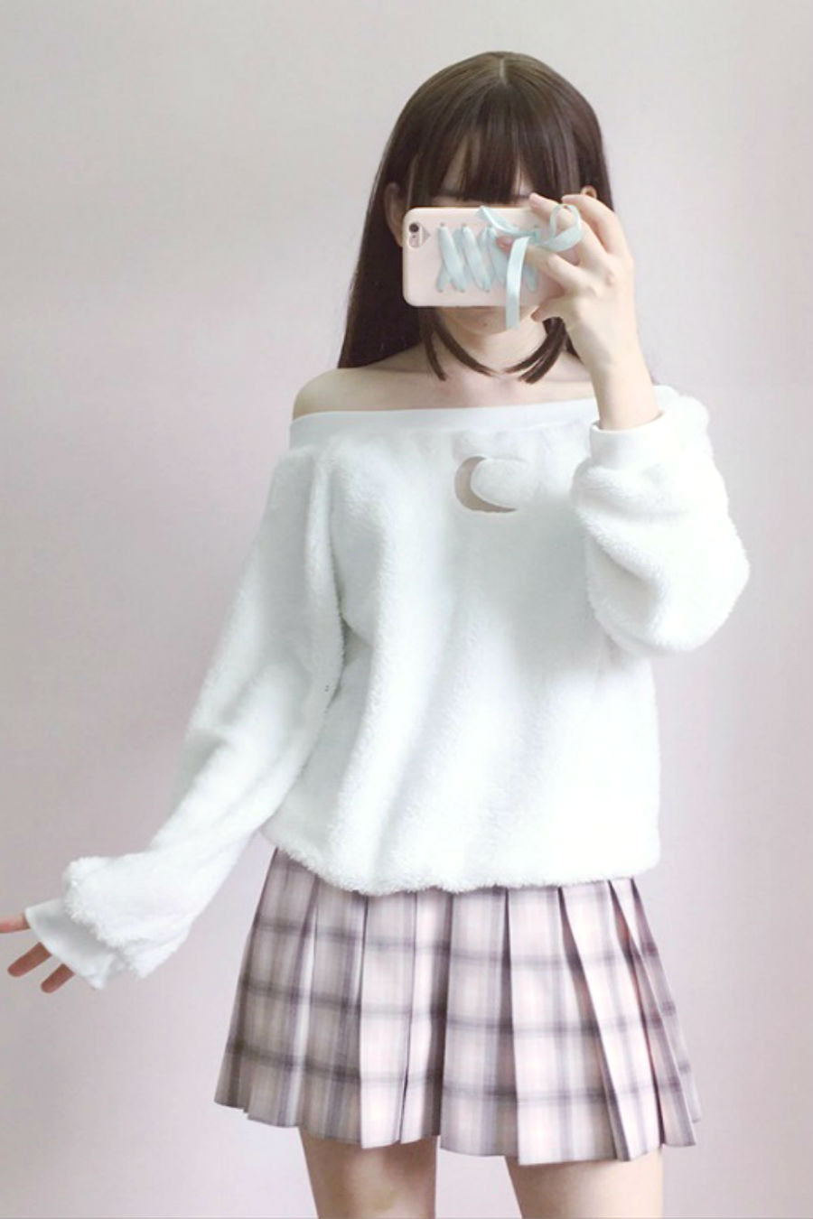 Fluffy Moon Off Shoulder Sweater