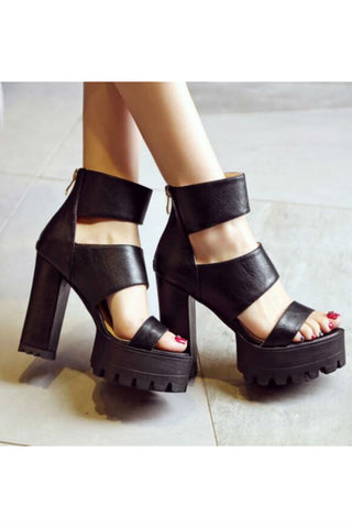 Ankle-strap Heeled Sandals In Black