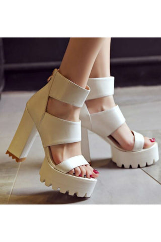 Ankle-strap Heeled Sandals In Cream