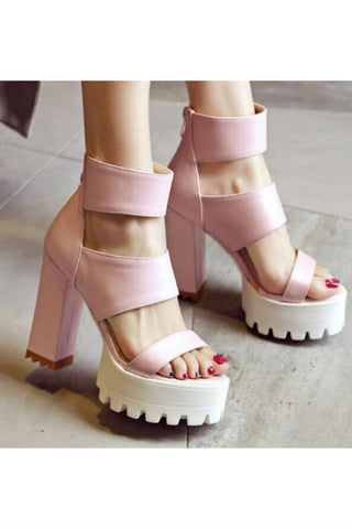 Ankle-strap Heeled Sandals In Pink