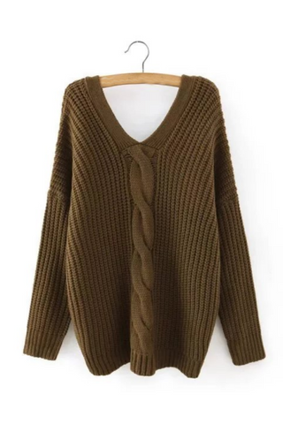 Army Green V-neck Cable Button Back Sweater