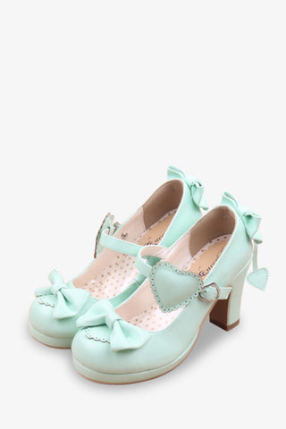 Lolita Bows Heels In Mint