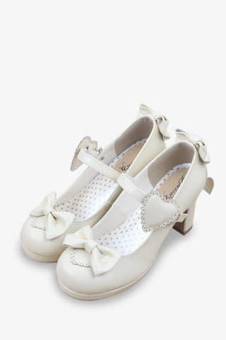 Lolita Bows Heels In Cream