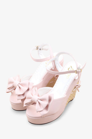 Pink Bowknot Wedge Sandals