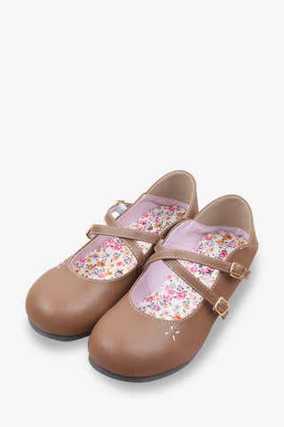 Cute Floral Flats In Brown