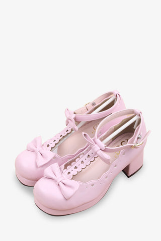 Pink Bows T-Strap Lolita Shoes