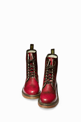 Martin Army Boots In Burgundy