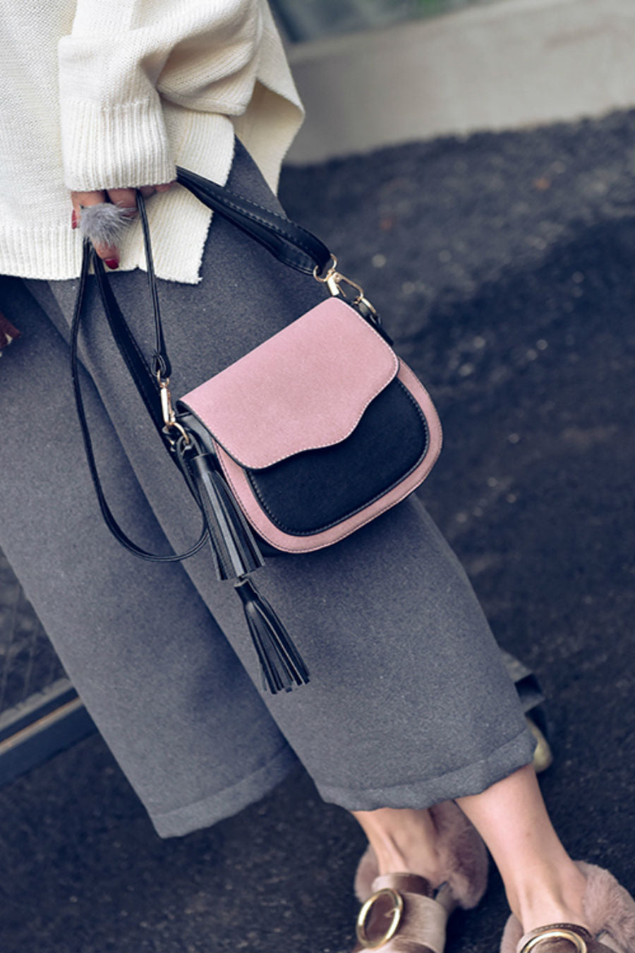 Vintage Tassel Color Block Shoulder Bag