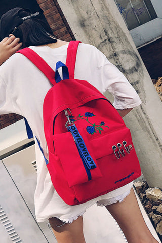 Red Rose Canvas Backpack