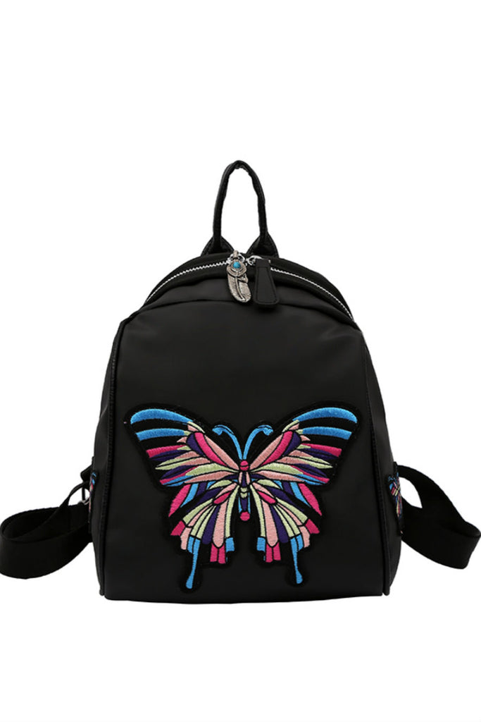 Butterfly Patch Black Backpack
